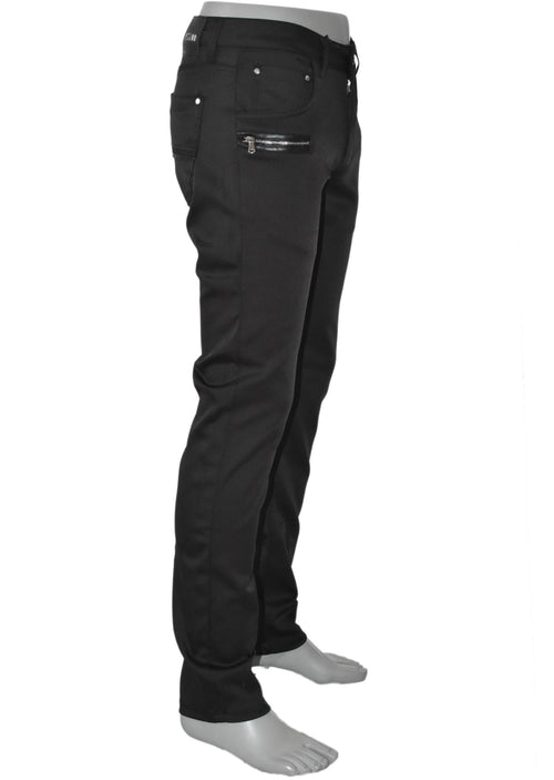 Black Two Zipper Stretch Fit Pants