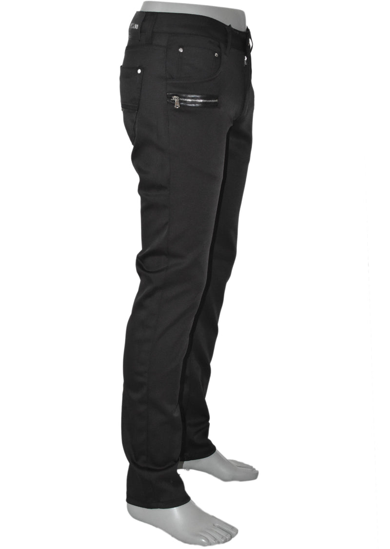 Black Two Zippered Pocket Tech Stretch Fit Pants
