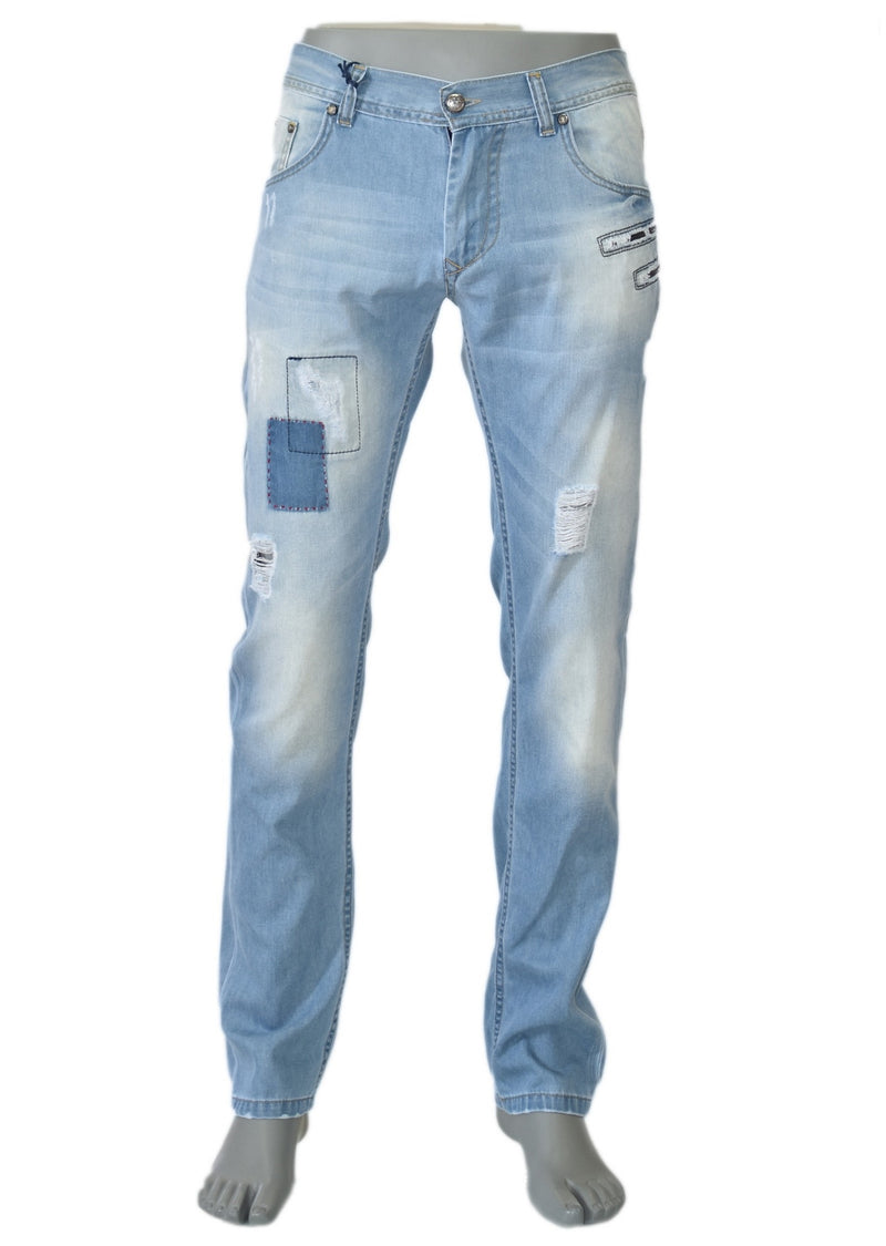 Blue Distressed Light Wash Zipper Jeans