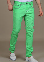 Green Washed Stretch Slim Fit Jeans
