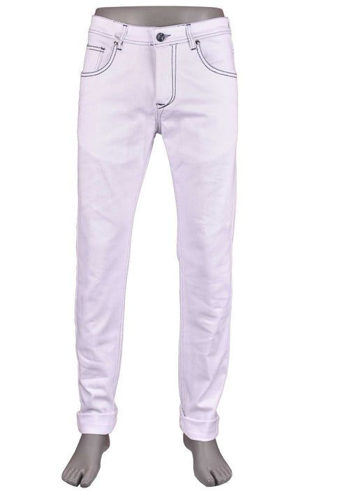 White Washed Stretch Slim Fit Jeans