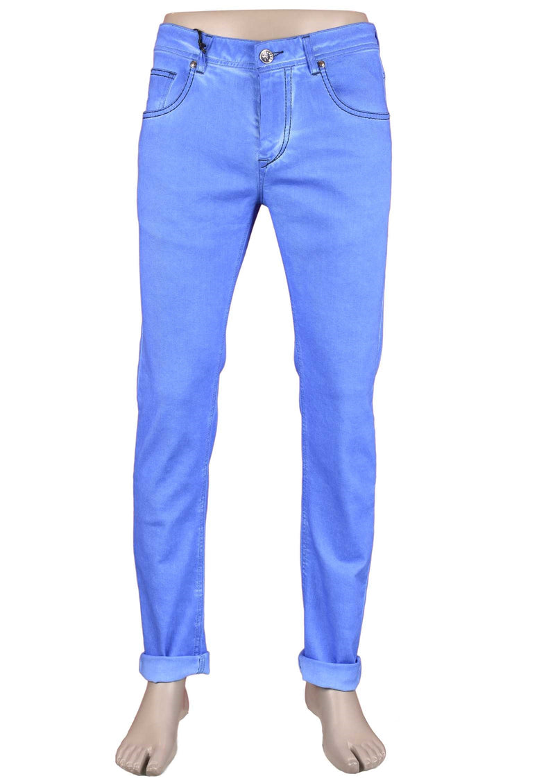 Royal Blue Washed Stretch Slim Fit Jeans