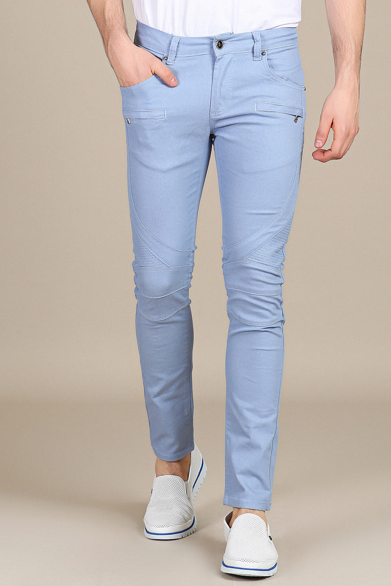 Blue Biker Zipper Slim Jeans