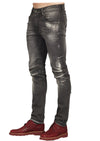 Black Elia Medium Wash Zipper Slim Fit Jeans