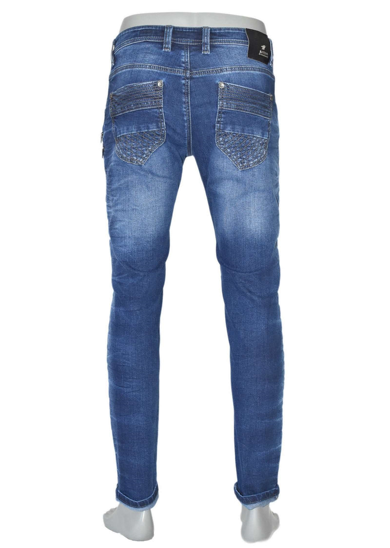 Medium Wash Biker Zipper Jeans