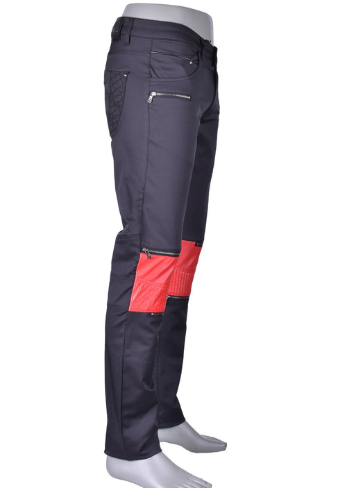 Black Red Moto Biker Pants