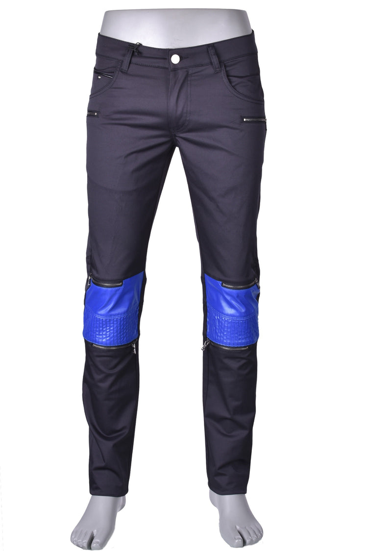 Black Blue Moto Biker Pants