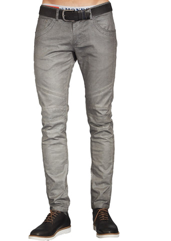 Gray Print Shiny Waxed Pants