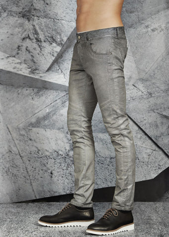 """SILVER"" PRINT COATED PANTS"