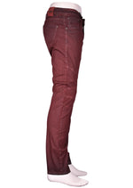 Burgundy Print Waxed Pants