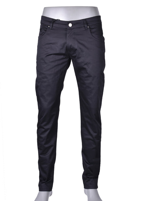 Black Leather Trim Detailed Pants