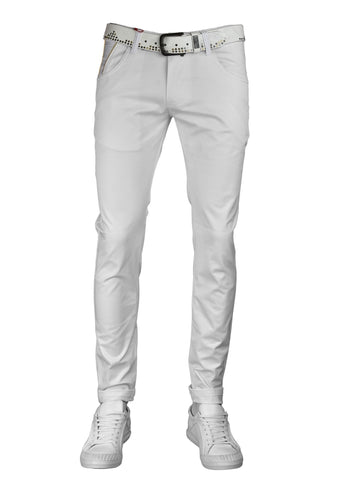 White Gold Zipper Tech Stretch Fit Pants