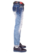 Wings White Embroidery Slim Jeans