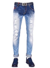 Wings Red Embroidery Slim Jeans