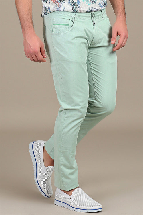 Green Stretch Cotton Pants