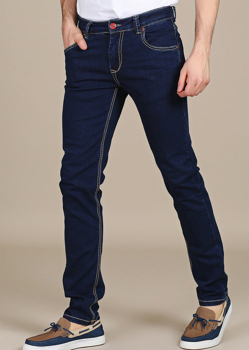 Anjelo Blue Dark Wash Red-Detailed Jeans