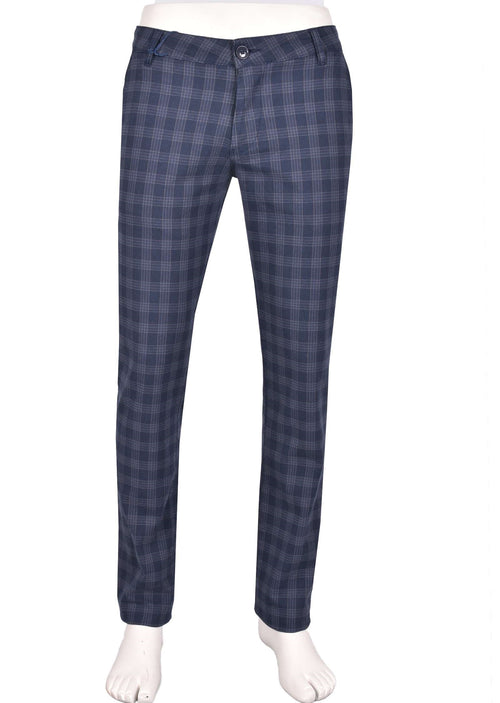Blue Plaid Slim Fit Stretch Pants