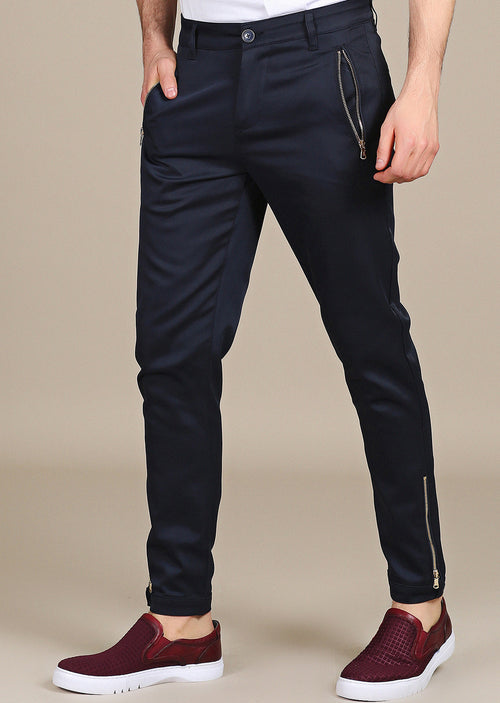 Navy Gold Zipper Jogger Tech Stretch Fit Pants