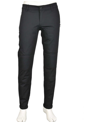 Black Quilted Tech Vertical Zipper Stretch Pants