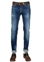 Blue Embroidery Medium Wash Jeans
