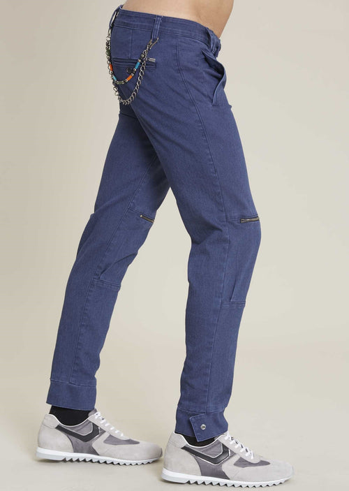 Navy Zipper Slim Fit Pants