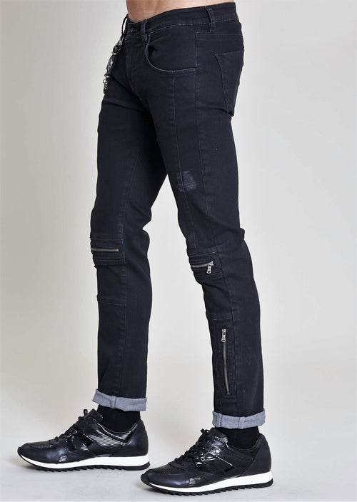 Black Moto Zipper Light Distress Denim