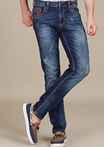 M Logo Embroidery Slim Fit Jeans