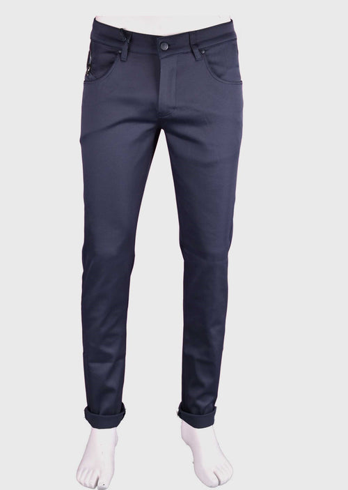 Navy Silver Zipper Tech Stretch Fit Pants