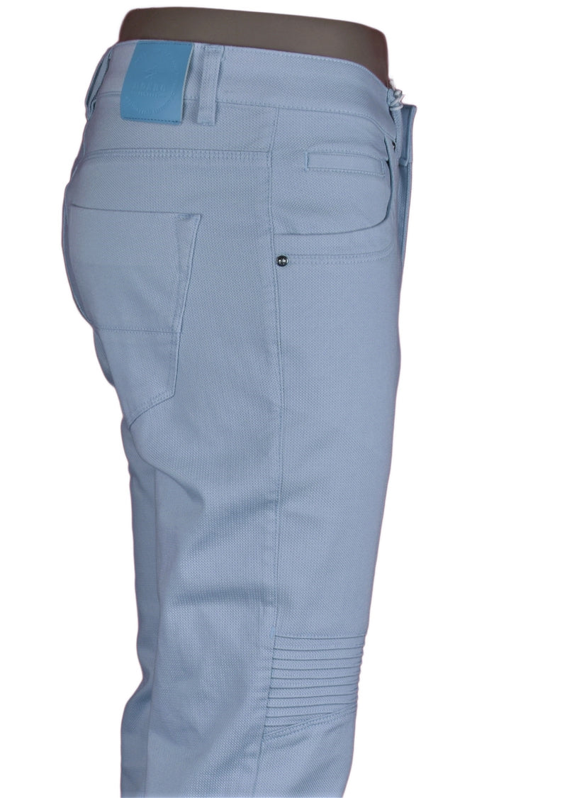 Blue Biker Twill Stretch Slim Fit Pants