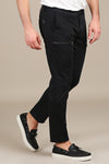 Black Zip-Detail Slim-Fit Stretch Pants