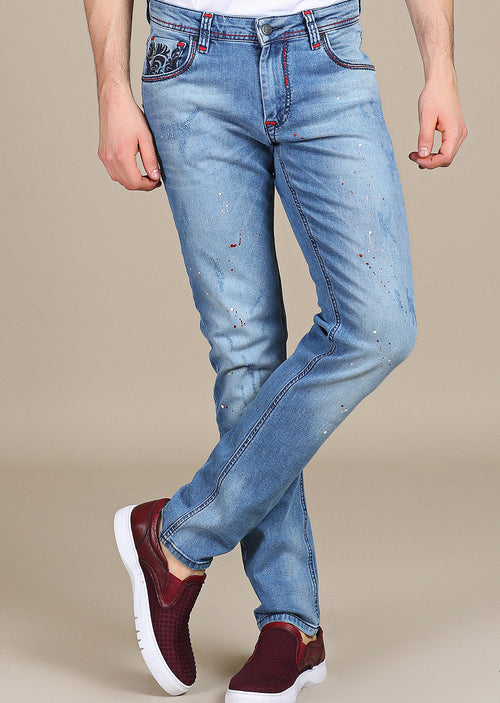 Blue Crest Embroidery Slim Fit Jeans