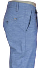 Light Blue Linen-Blend Slim Fit Stretch Pants