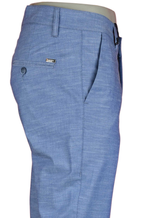 Light Blue Linen Slim Fit Stretch Pants