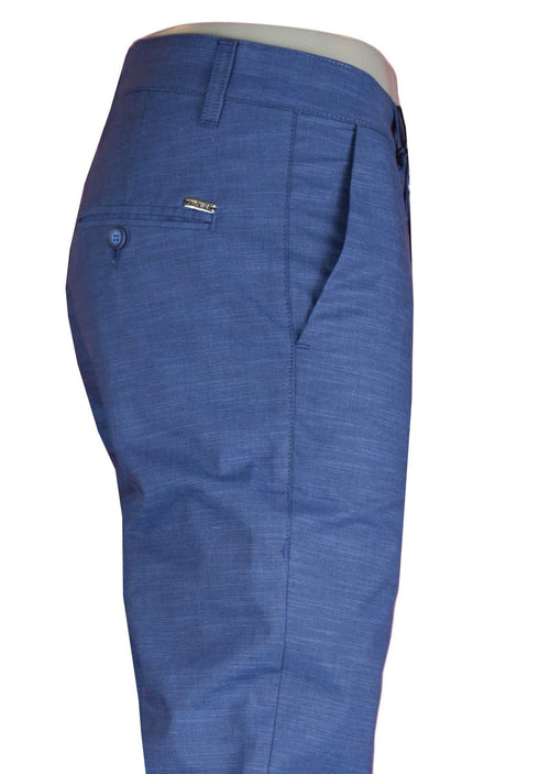 Blue Linen Slim Fit Stretch Pants