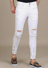 White Ankle Ripped Zipper Jeans