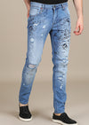 Light Blue Paint Lettering Slim Fit Jeans
