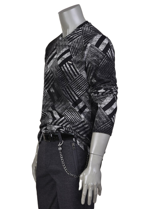Black Gray Brush Pattern Sweater