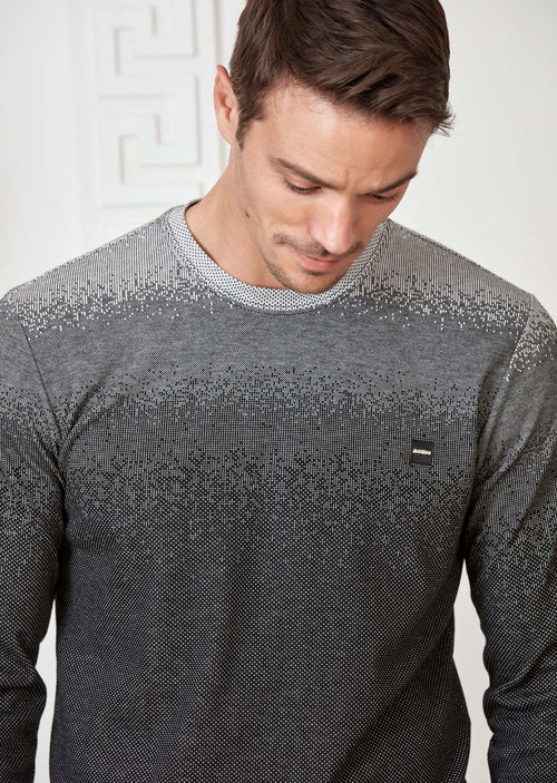 Light Gray Micro Degraded Sweater