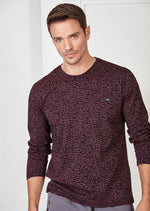 "Burgundy ""Words"" Flocked Print Sweater"