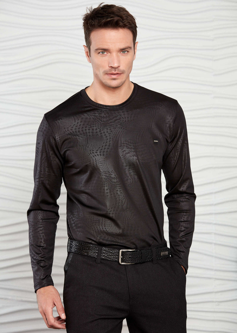 Black Houndstooth Tech Long Sleeve Tee