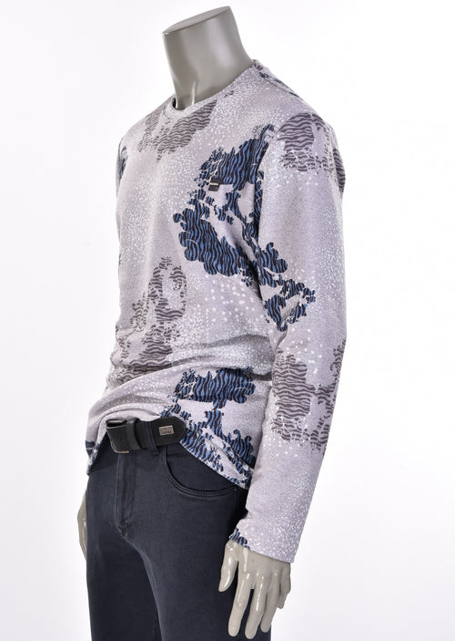"Gray ""Leonardo"" Print Sweater"