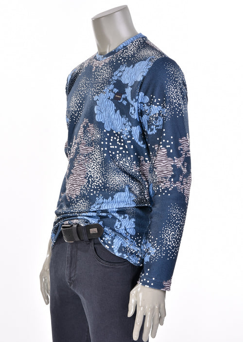 "Blue ""Leonardo"" Print Sweater"