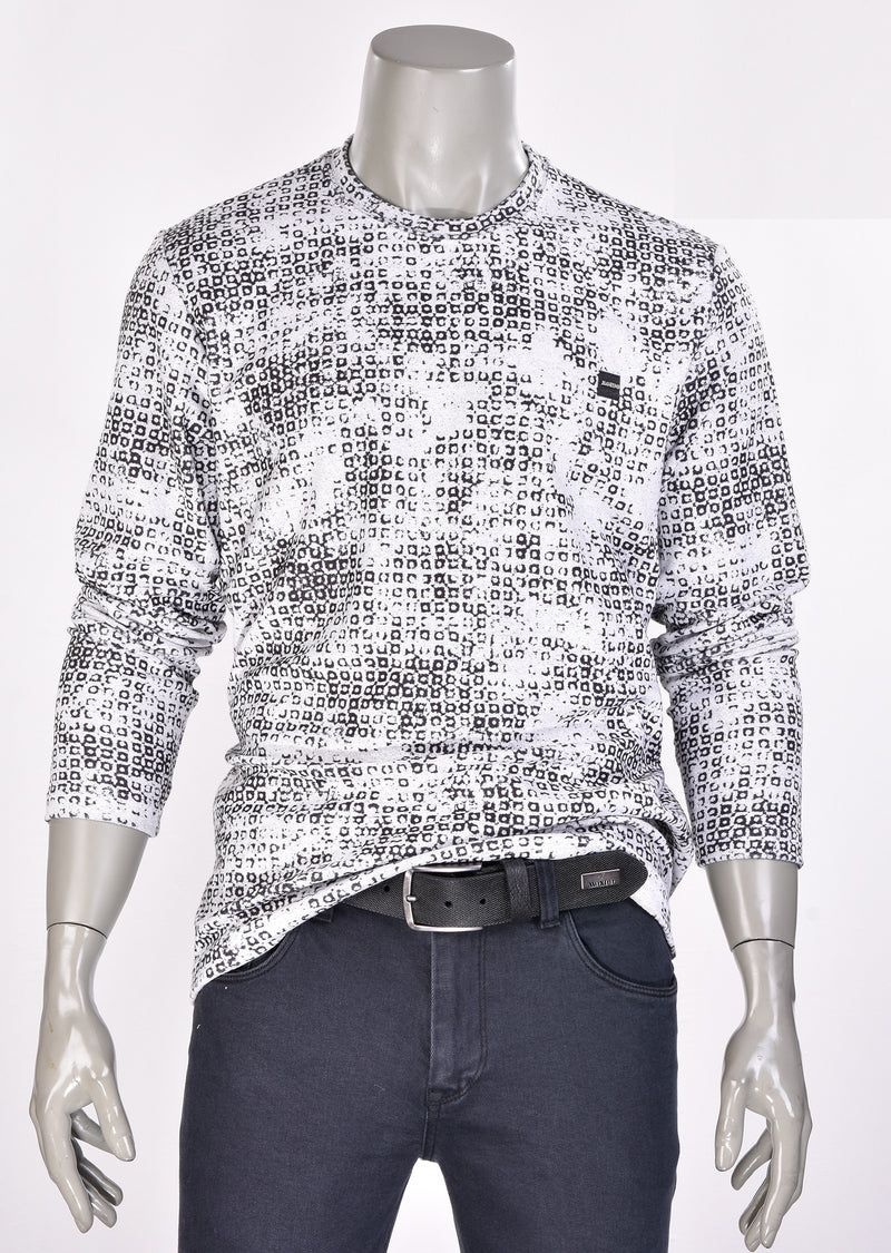 "Light Gray ""Degraded Circle"" Print Sweater"