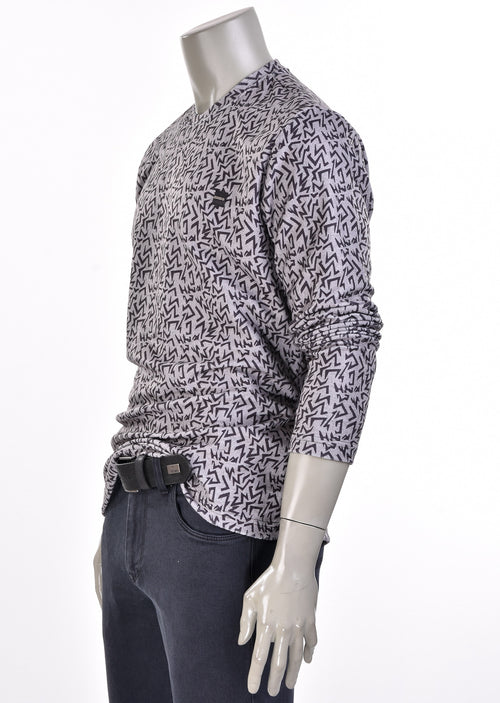 "Gray ""Zigzag"" Print Sweater"