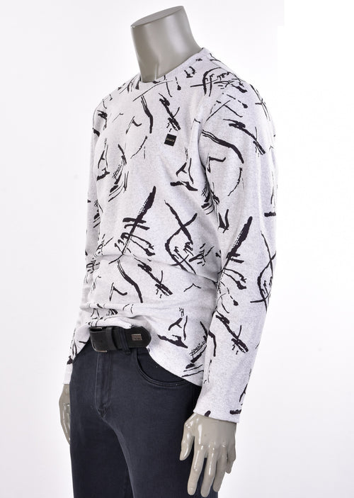 "Light Gray ""Franco"" Print Sweater"