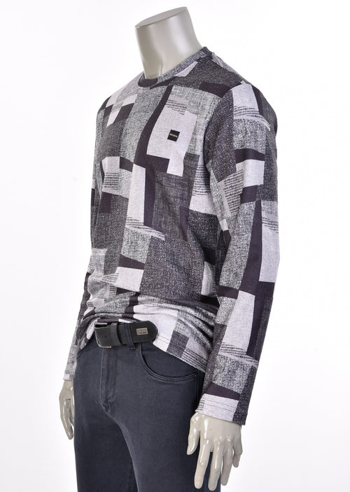 "Gray ""Patch Look"" Print Sweater"