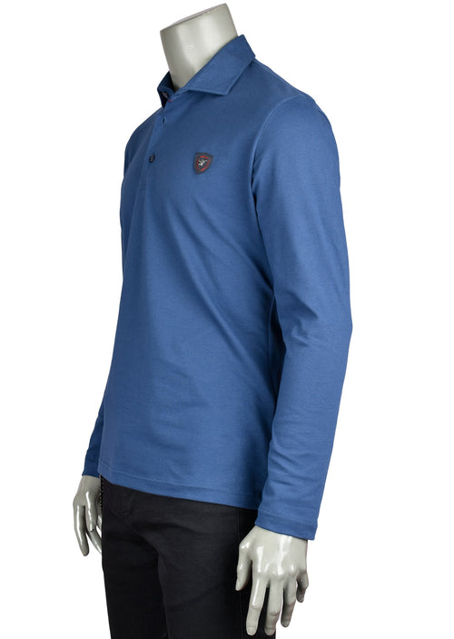 Blue Long Sleeve Polo in Fine Pique