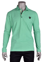 Green Long Sleeve Polo in Fine Pique