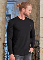 Black Quilted Long Sleeve Tee