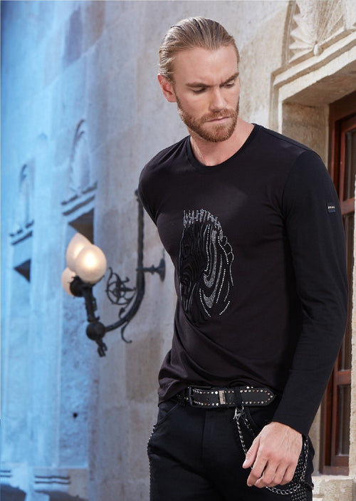 Black Zebra Embroidery Rhinestone Long Sleeve Tee